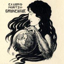 Armin von Foelkersam. Eksliibris Moritz von Grünewaldtile / Bookplate of Moritz von Grünewaldt. 1902